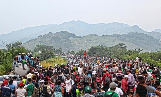 Central american migrant caravan passing by Chiapas, Mexico on their way to United States. 2018.