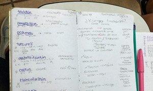 Cuaderno de un estudiante de náhuatl en la Universidad Autónoma de México.