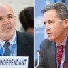 Michael Forst (à gauche), Rapporteur spécial sur la situation des défenseurs des droits de l'homme, et David Kaye, Rapporteur spécial sur la promotion et la protection du droit à la liberté d'opinion et d'expression.