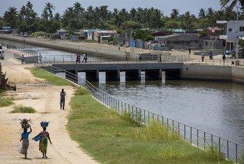 Mfumo wa maji taka unaofadhiliwa na Benki ya Dunia ambao ulikamilika kabla ya kimbunga Idai mjini Beira Msumbiji , 26 Februari 2020