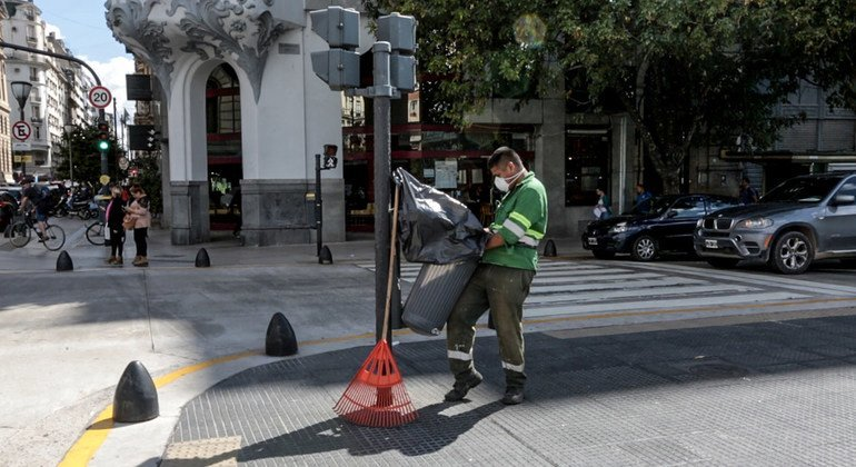 Cleaning work in Argentina.