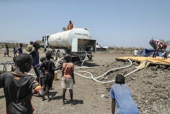 Water is provided to communities displaced by intercommunal fighting  in Pibor, South Sudan.