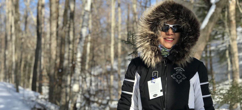 2019年,姜华在美国佛蒙特州的著名滑雪胜地绿山森林国家公园。