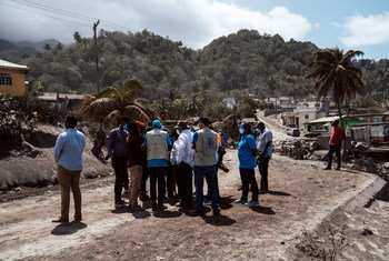 UN Resident Coordinator Didier Trebucq, along with Prime Minister Ralph Gonsalves and other UN agency officials, travel to the danger zones to assess the impact of La Soufrière volcano eruption in St. Vincent and the Grenadines.
