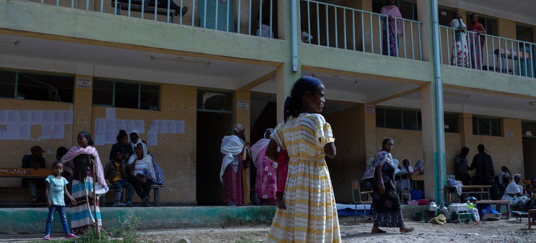 Un centre pour personnes déplacées au Tigré, en Éthiopie.