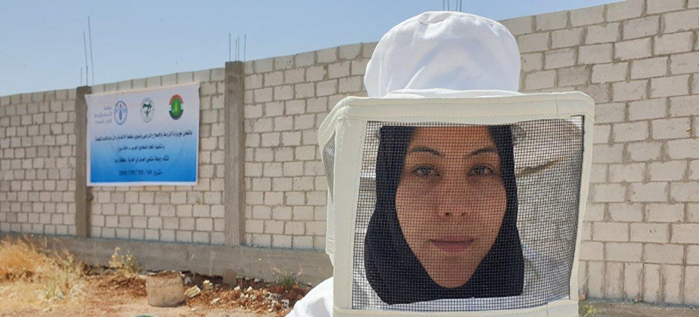 فاطمة عبد الرحيم تعمل في حصاد العسل في قريتها الواقعة بدرعا، سوريا