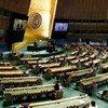 صورة شاملة لقاعة الجمعية العامة خلال جلستها العامة حول الوضع في الشرق الأوسط بما فيها القضية الفلسطينية. الأمين العام أنطونيو غوتيريش على المنبر.