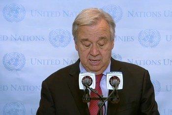 أمين عام الأمم المتحدة أنطونيو غوتيريش بوقف إطلاق النار بين غزة وإسرائيل. 20-05-2021.