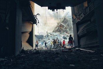 Destruction in Gaza following an Israeli strike in May 2021.