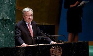 Secretary-General António Guterres addresses the General Assembly meeting on the Situation in the Middle East and the Question of Palestine.