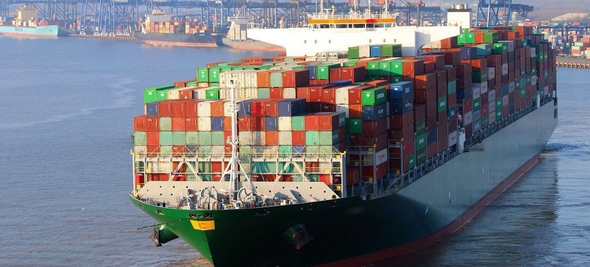 A container ship unloads its cargo at a port.