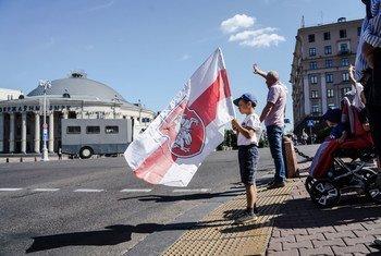 Protesto pacífico em Belarus