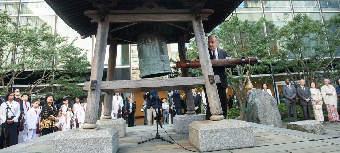 Secretary-General António Guterres rings the Peace Bell at the annual ceremony held at UN headquarters in observance of the International Day of Peace. (20 September).