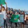 Estudiantes del Liceo Francés de Nueva York protestan en la huelga climática mundial el 20 de septiembre de 2019.