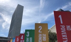 Sustainable Development Goals (SDGs) banners outside the United Nations Headquarters in New York. 20 September 2019.