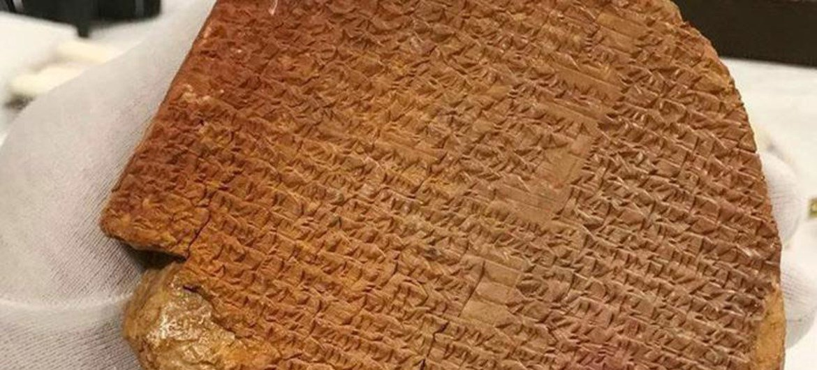 The Gilgamesh Tablet, a 3,500-year-old tablet from what is present  Iraq, is 1  of the world's oldest works   of literature.