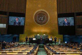 Поп-группа BTS приняла участие в мероприятии, посвященном ЦУР, в Генассамблее ООН.