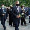 Des délégués de l'ONU participent à un hommage aux victimes des attenats du 11 septembre 2001 à New York.