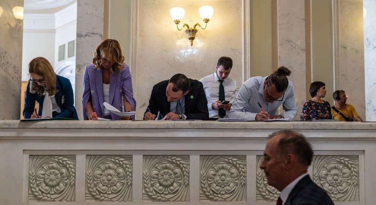Lawmakers, MPs, and government officials amend bills during the newly-elected administration's first session of parliament in Kyiv, Ukraine in August, 2019.