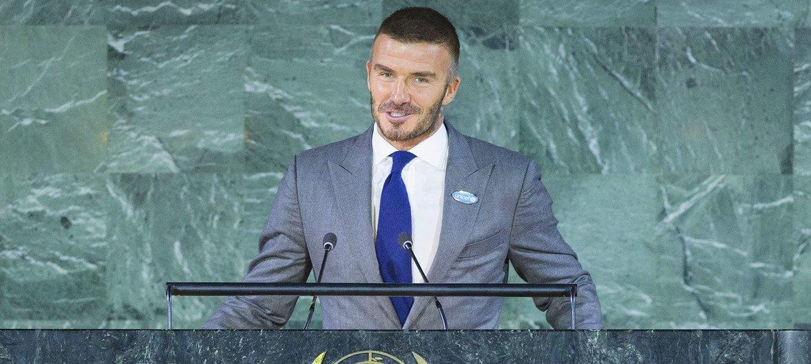 El embajador de Buena Voluntad de UNICEF, David Beckham, habla en la Asamblea General durante los actos de conmemoración de la Convención sobre los Derechos del Niño.