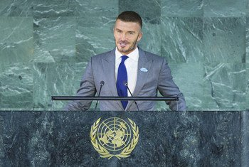David Beckham, Goodwill Ambassador for UNICEF, speaks at the high-level meeting of the General Assembly on the occasion of the thirtieth anniversary of the adoption of the Convention on the Rights of the Child.