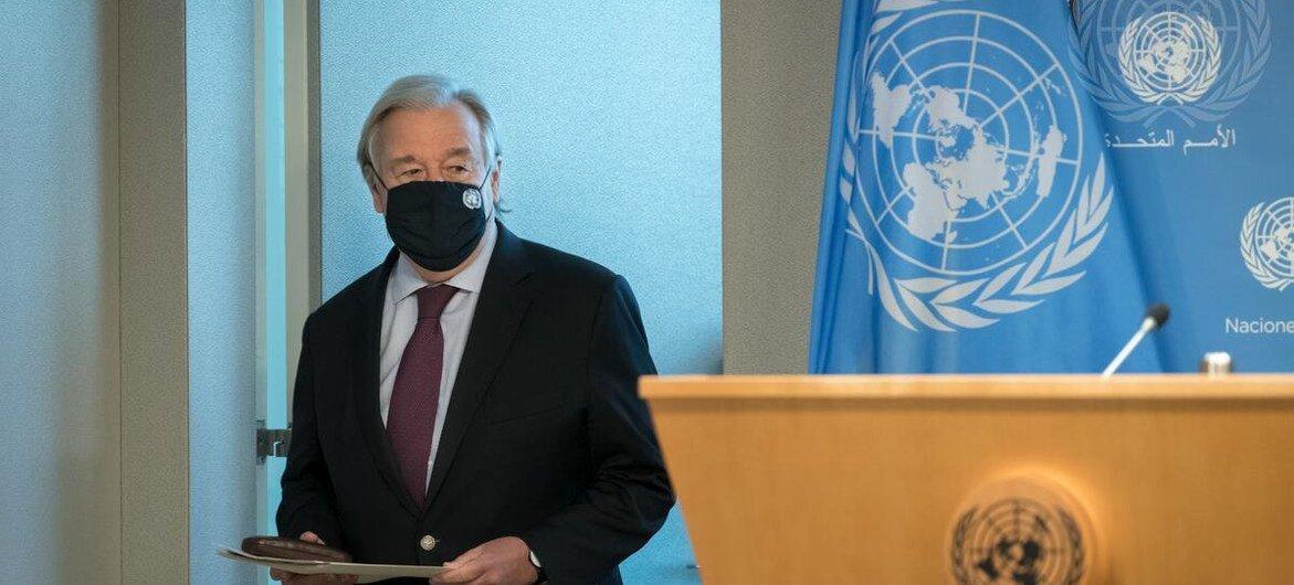 联合国秘书长安东尼奥·古特雷斯准备向媒体介绍即将召开的20国集团峰会。