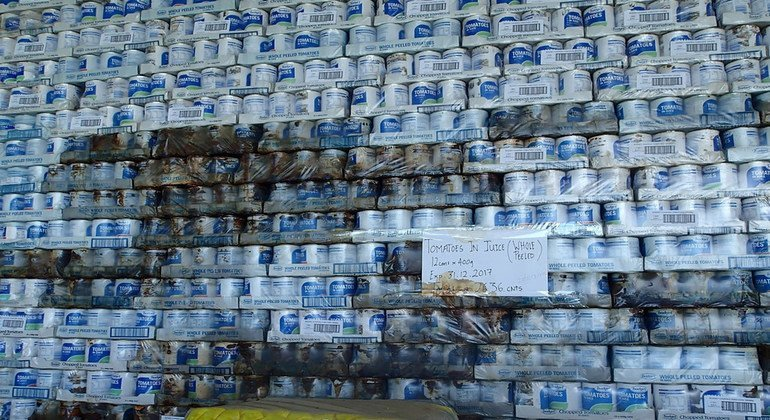 Goods donated after disaster in Vanuatu.