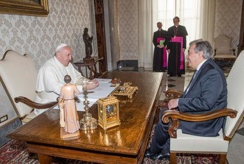 Secretary-General António Guterres (right) has an audience with Pope Francis at the Vatican in Rome.