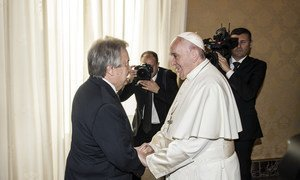 UN Secretary-General António Guterres (left) has an audience with Pope Francis at the Vatican City in Rome.