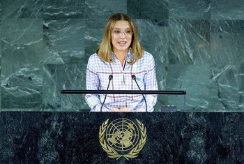 UNICEF Goodwill Ambassador Millie Bobby Brown speaks at the UN General Assembly on the occasion of the 30th anniversary of the adoption of the Convention on the Rights of the Child.