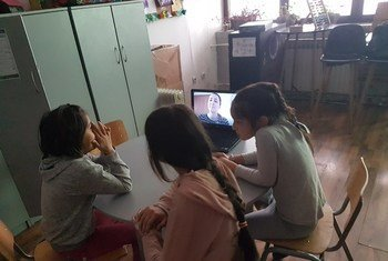 Many classes for children at migrant and refugee reception centres in Bosnia — such as this one in Sedra — have gone online