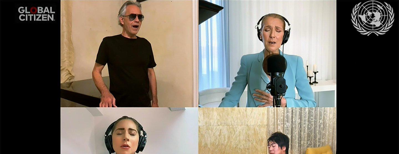 Lang Lang, Celine Dion, Lady Gaga e Andrea Bocelli cantam Prayer. Cerca de 39% de artistas encontraram uma alternativa nas plataformas de internet