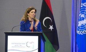 La Représentante spéciale intérimaire des Nations Unies en Libye, Stephanie Williams, lors d'une réunion du Forum du dialogue politique libyen (FDPL),