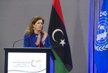 ستيفاني وليامز ممثلة الأمين العام في ليبيا بالإنابة ترحب بالمرشحين في ملتقى الحوار السياسي الليبي.