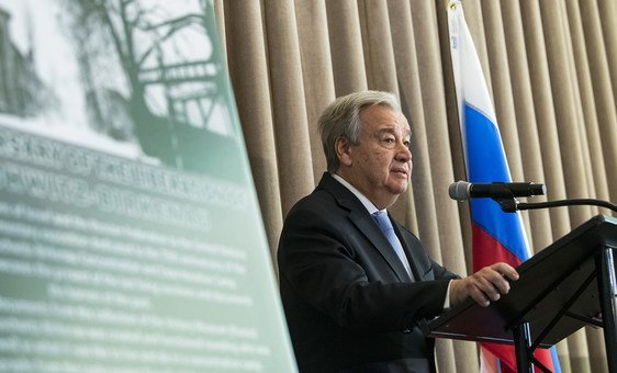 United Nations Secretary-General António Guterres opens an exhibition at UN Headquarters commemorating the 75th anniversary of the liberation of Auschwitz-Birkenau.