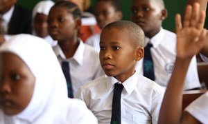 Students attend class at Zanaki primary school in Dar es Salaam, Tanzania.