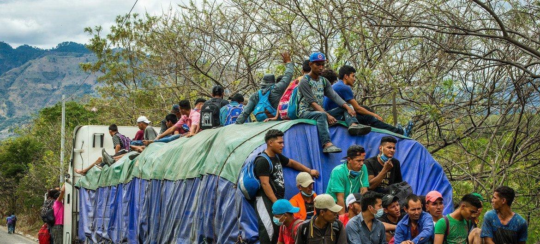 Caravana migrante en Guatemala.