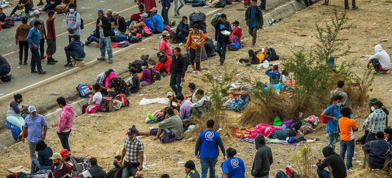 Caravana de migrantes hondureños en Guatemala.