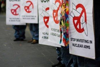 示威者呼吁禁止核武器。