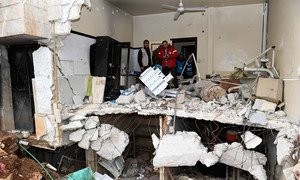 A destroyed health centre in east Aleppo, Syria.