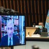 Dr. Anthony Fauci (on screen) and Dr. Tedros Adhanom Ghebreyesus at the WHO Executive Board Meeting.