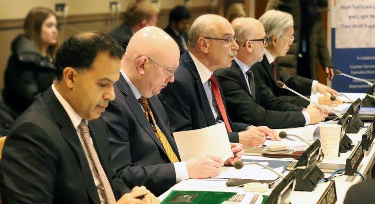 Заместитель Генерального секретаря ООН, руководитель Контртеррористического управления, Владимир Воронков и Постоянный представитель России при ООН Василий Небензя, представляют новый проект в Центральной Азии
