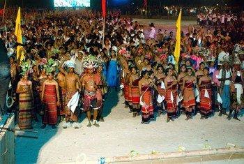 Parte das elebrações para marcar a independência de Timor-Leste em 2002, na capital Dili.