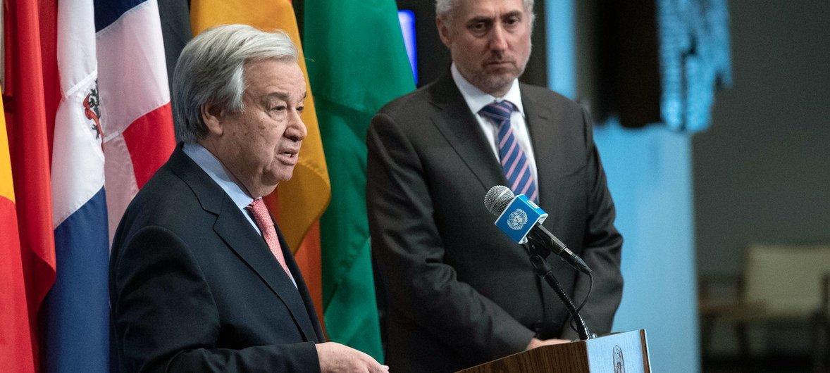 Secretary-General António Guterres briefs reporters astatine  UN Headquarters past  February. Alongside him is UN Spokesperson, Stéphane Dujarric (file photo).