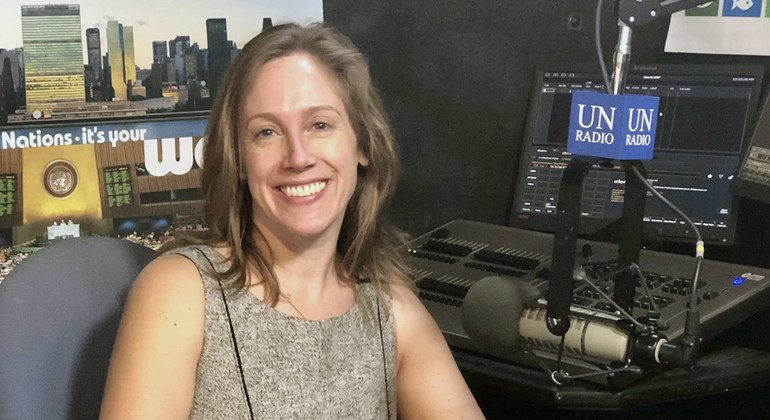 Sara Brown, Executive Director of Chhange, the Centre for Holocaust, Human Rights and Genocide Education in the UN News studio at UN Headquarters in New York.