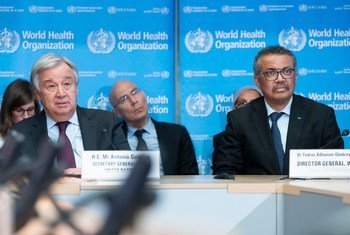 UN Secretary-General António Guterres (left) with WHO Director-General Tedros Adhanom Ghebreyesus listen to a briefing on the coronavirus at the Strategic Health Operations Centre (SHOC) in Geneva. (file)