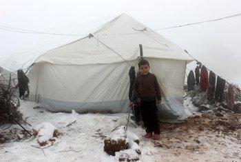 叙利亚西北部靠近土耳其边境的一处非正式定居点内,一个男孩站在一顶帐篷的入口处。