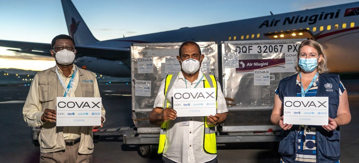 The first delivery of COVID-19 vaccines from the COVAX Facility arrives in Papua New Guinea.