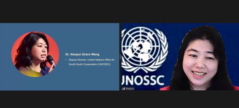 联合国南南合作办公室副主任王晓军博士在网络研讨会上发言。