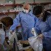 在2019冠状病毒病大流行紧急情况下,难民署向约旦境内的难民运送药品。